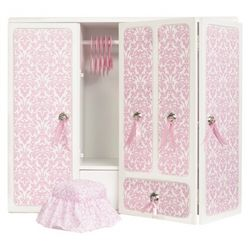 Wooden Doll Wardrobe with Ribbons