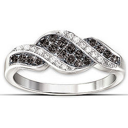 Midnight Serenade Black and White Diamond Ring