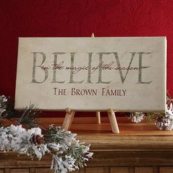 Believe in Christmas Personalized Canvas
