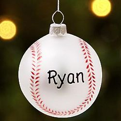 Personalized Glass Baseball Ornament