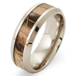 Men's Stainless Steel Wood Design Camo Ring
