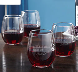 Famous Men of Wine Etched Stemless Glass Set