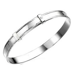 Silver Blank Band Baby Bangle with Diamond