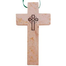 Engraved Celtic Cross on a Polished Jerusalem Stone Cross