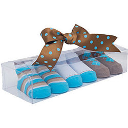 Blue and Brown Baby Socks in Gift Box