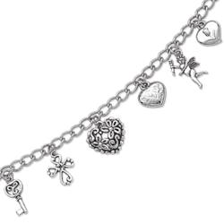 Sweet Hearts Silver Plated Charm Bracelet