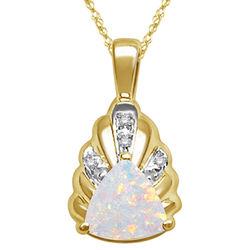 Diamond & Opal Pendant in 14K Yellow Gold