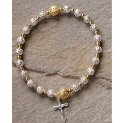 First Communion Stretch Bracelet with Crucifix Charm