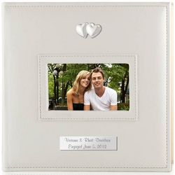 Personalized White Photo Album with Silver Hearts