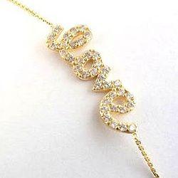 14K Gold Written Cubic Zirconia Love Bracelet