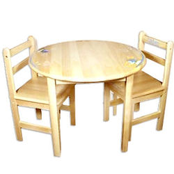 Natural Wood Child's Table and Chairs