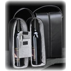 Black Leather 2 Bottle Wine Caddy