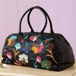 Embroidered Flowers Leather Duffle Bag