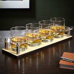 Westbrook Cocktail Glasses with Personalized Bar Tray