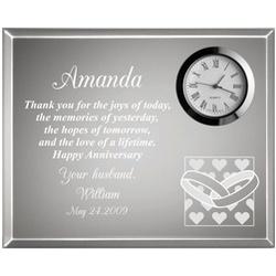 Hearts and Wedding Rings Valentine Anniversary Clock