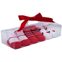 Red and White Baby Socks in Gift Box