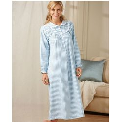 Long Striped Flannel Gown