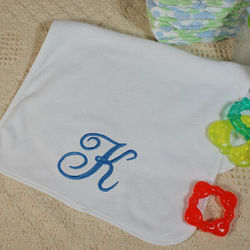 Name or Initial Embroidered Baby Burp Cloth