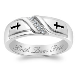 Men's Sterling Silver Genuine Diamond Cross Engraved Wedding Band