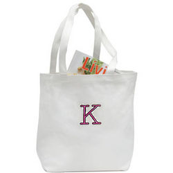 Embroidered Initial Canvas Tote