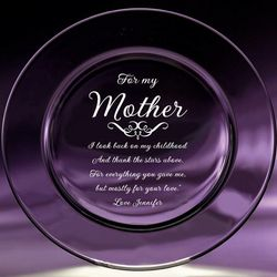 Mother Etched Crystal Plate