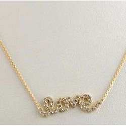 Cubic Zirconia 14K Gold Script Love Necklace