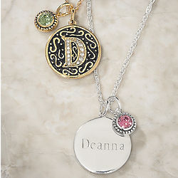 Personalized Initial, Name, and Birthstone Pendant