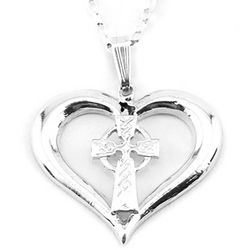 Celtic Cross in Heart Necklace