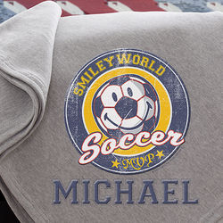 Smiley Sport Personalized Sweatshirt Blanket