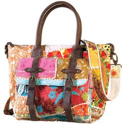 Recycled Sari Patchwork and Leather Handbag