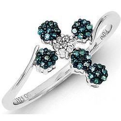 Sterling Silver Blue Diamond Cross Ring