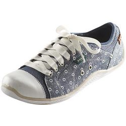 Open-Dot Canvas Sneakers