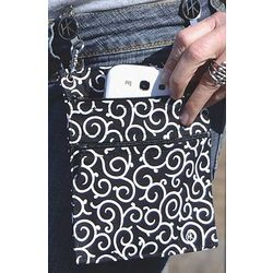 Black and White Swirls Hip Klip Plus Small Purse
