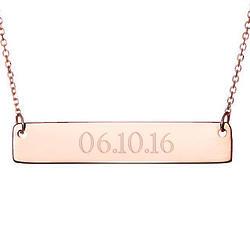 Custom Date Rose Gold Bar Necklace
