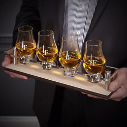 Personalized Serving Tray with Personalized Glencairn Glasses