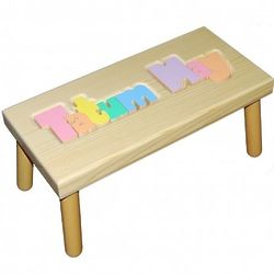 Personalized Name Puzzle Stool with Pastel Colors & Natural Wood