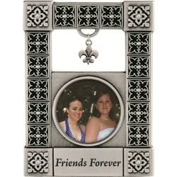 Friends Forever Pewter Frame with Fleur de Lis Dangle
