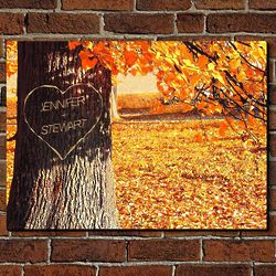 Personalized Carved Heart Tree Wall Sign