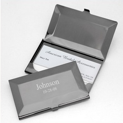 Engraved Gunmetal Business Card Case