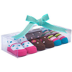 Pink and Brown Baby Socks in Gift Box