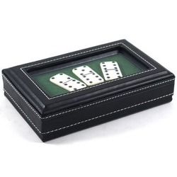 Double Six Dominoes in Black Leather Display Case