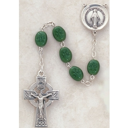 Shamrock Rosary in Sterling Silver