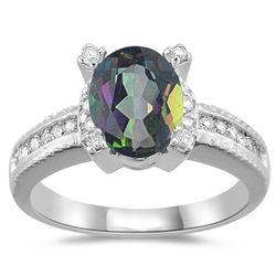 Diamond & Mystic Fire Topaz Ring in 14K White Gold