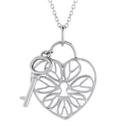 Tiffany Inspired Filigree Heart Lock Pendant