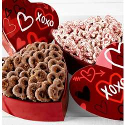 White Chocolate Pretzels in Graffiti Hearts Tin