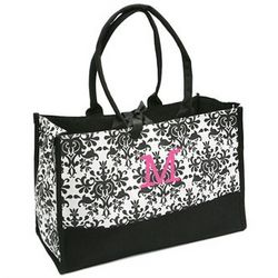 Damask Tote with Initial