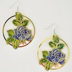 Blue Rose Metal Earrings