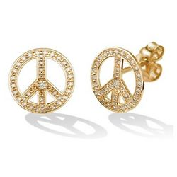 14k Gold and Diamond Peace Sign Earrings