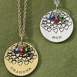Mom or Grandma Birthstone Pendant