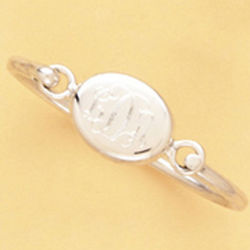 Monogrammed Sterling Silver Oval Baby Bangle